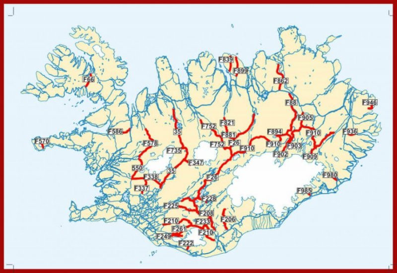 Map of Iceland F-Roads