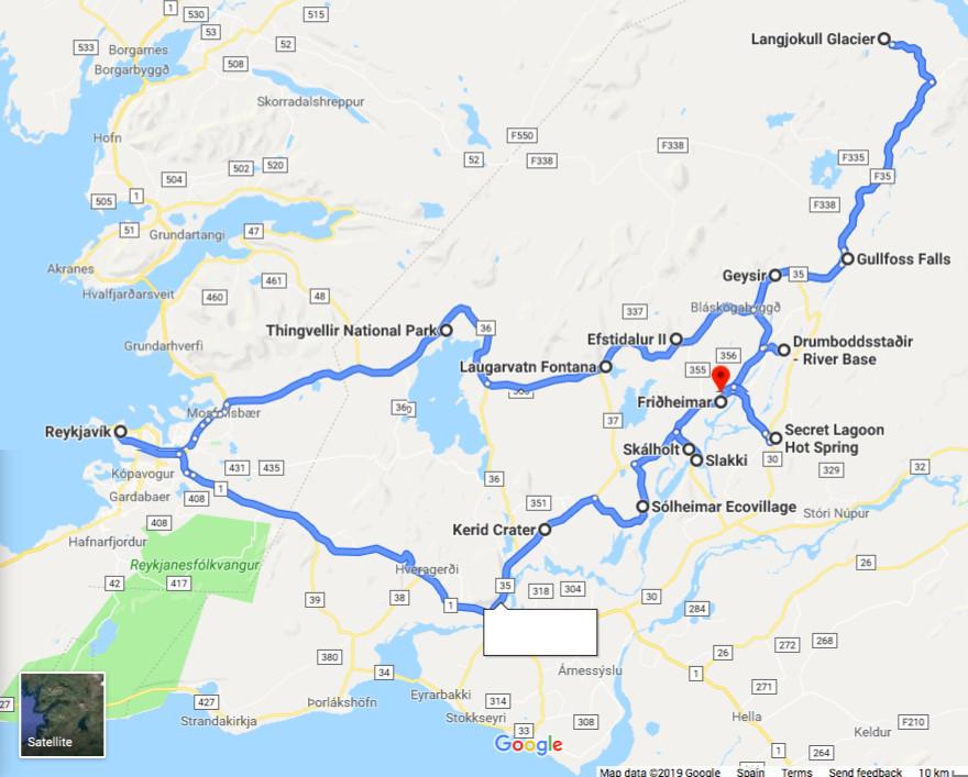 Iceland Golden Circle map on Google Maps