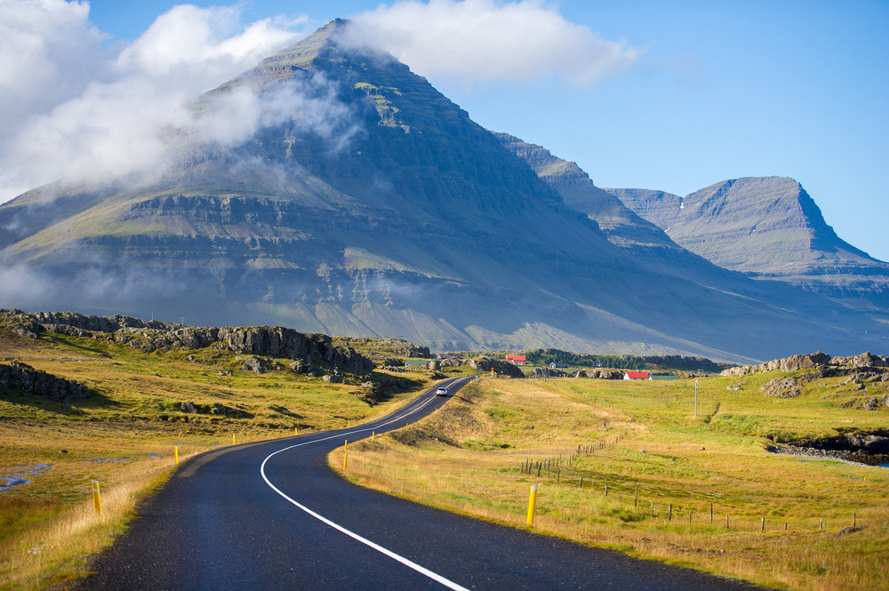 Driving in Iceland on paved roads along the Ring Road