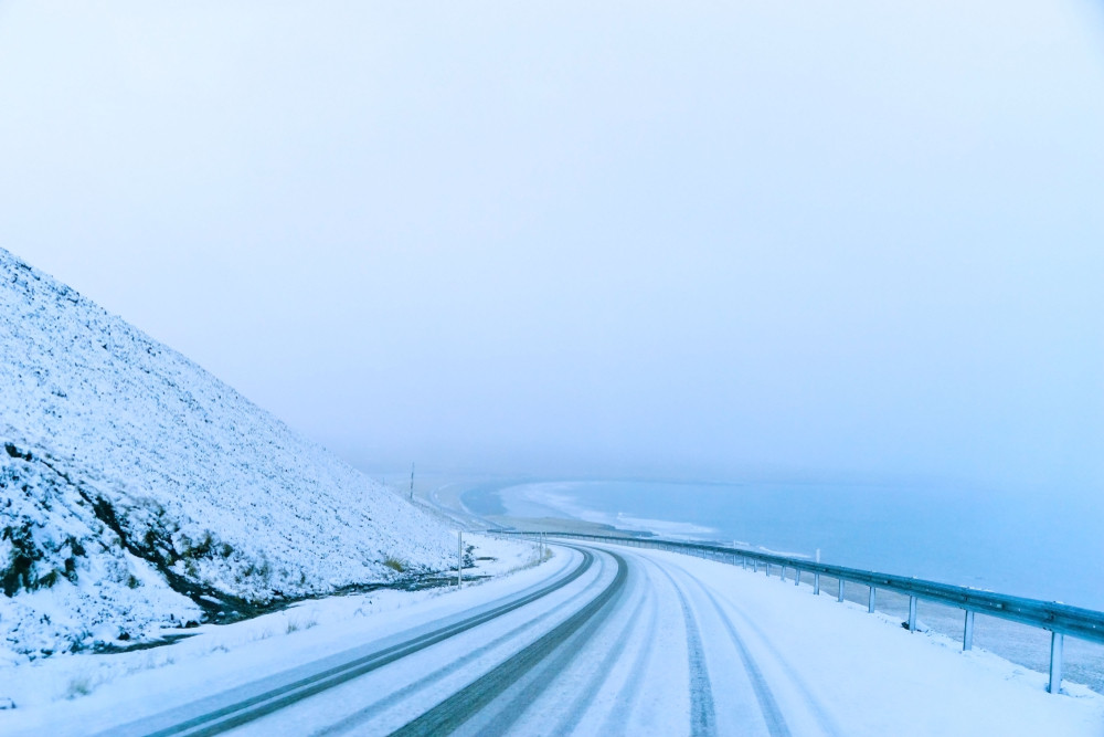Weather in Iceland during a winter storm