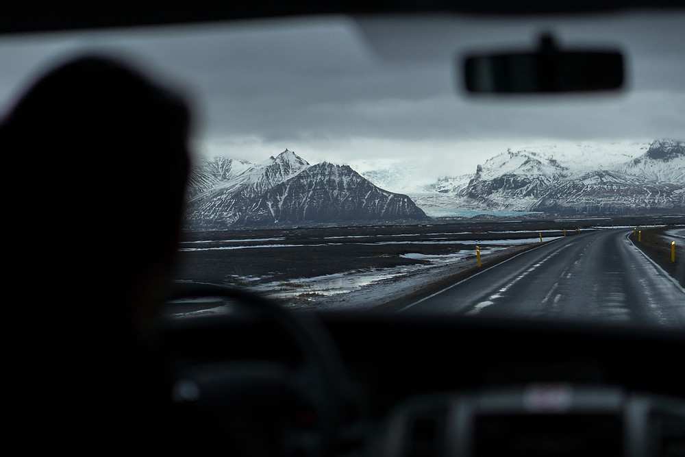 Snow tires in Iceland with stunning landscapes