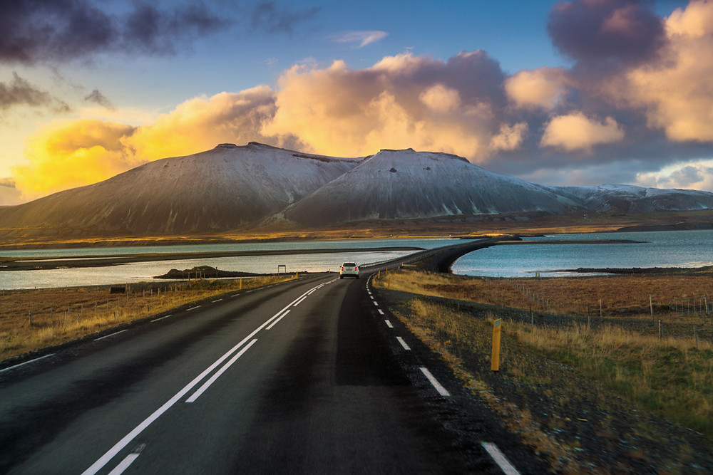 Iceland Ring Road at sunset