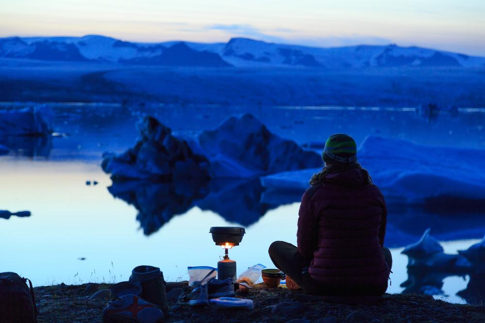 Skaftafell campsite is close to Jökulsárlón glacier lagoon with female camper
