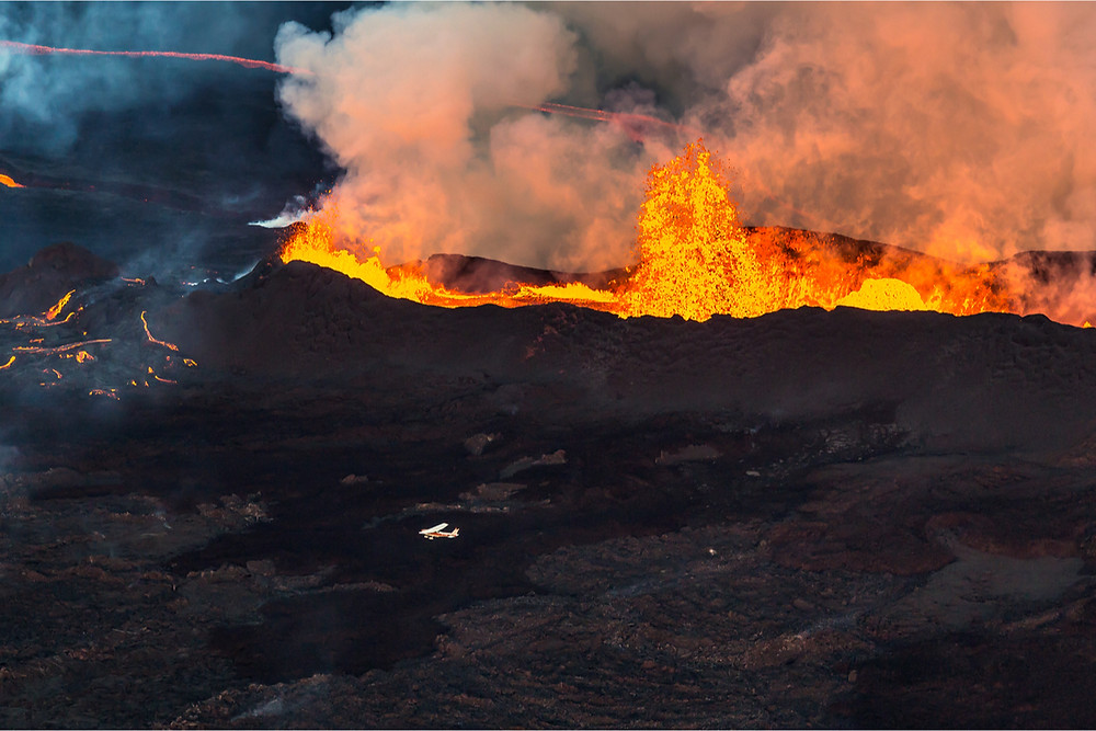 Fissure volcano in Iceland like the Laki volcano