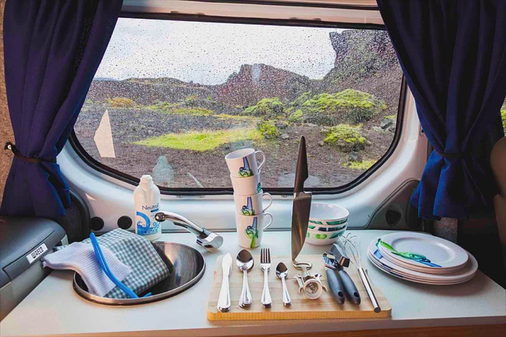 Interior of Iceland camper rental