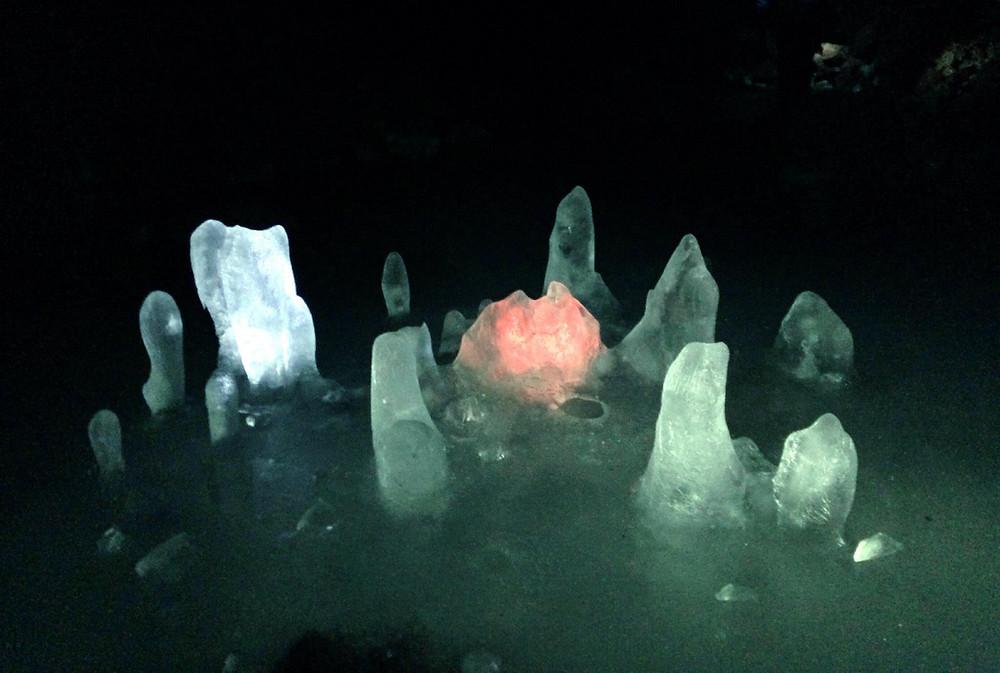 Ice sculptures on the Lofthellir ice cave tour