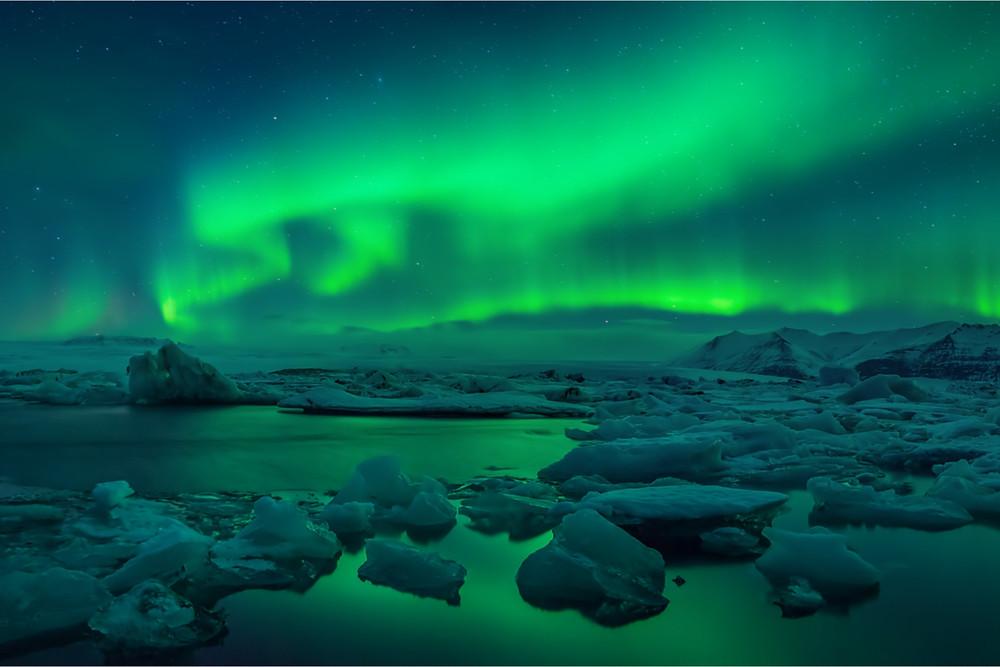 Jokulsarlon glacier lagoon and the Northern Lights