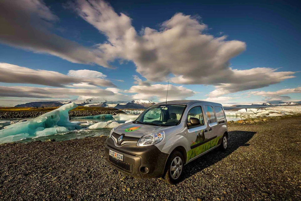 Iceland campervan at with glacier lagoon in the background
