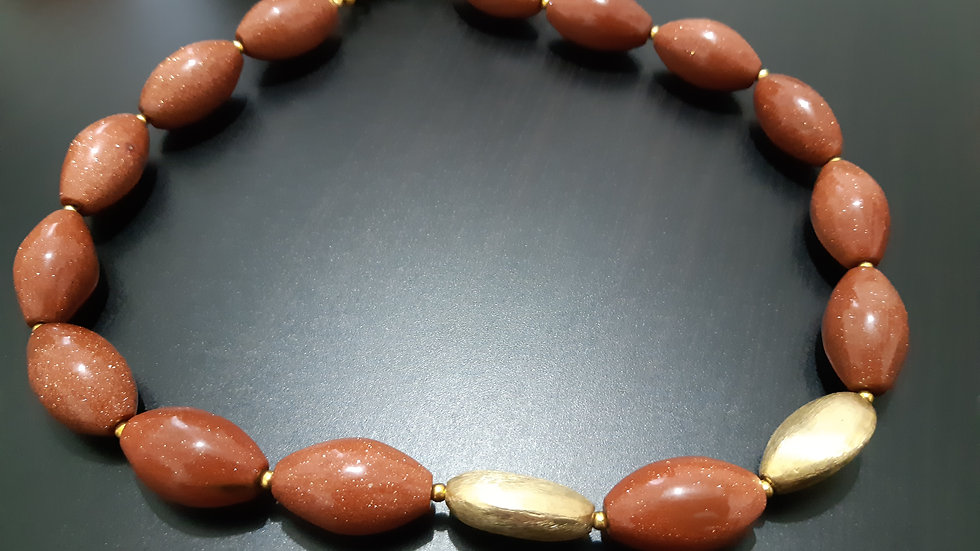 Goldstone and Gold Necklace