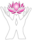 outline of Two hands fingers in upward direction with palms and thumbs touching, holding a Pink lotus flower