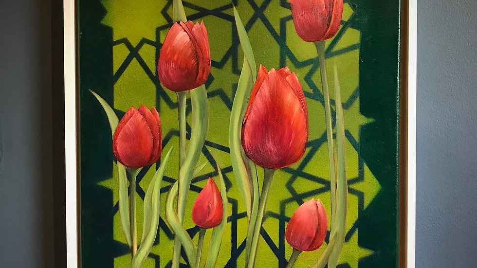 Red Tulips on Green