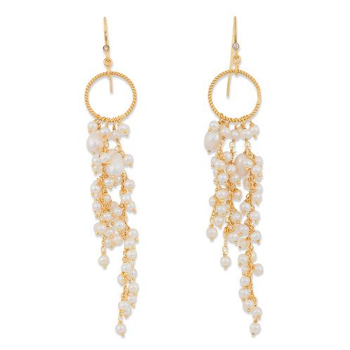 Freshwater Pearls Long  Cluster Earrings
