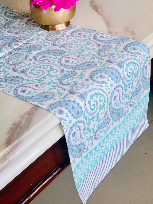 Multicolor Paisley Hand Block Printed Table Runner