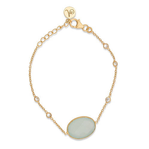 Aqua Chalcedony Chain bracelet