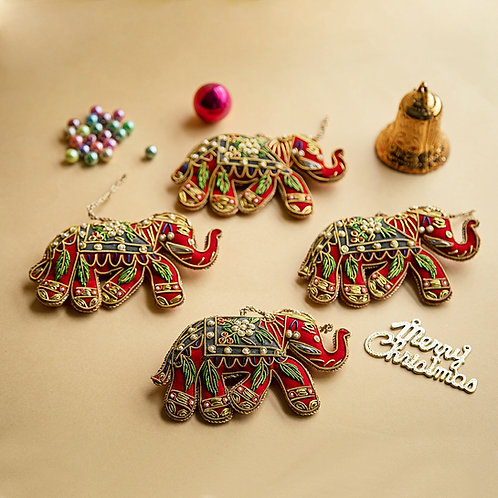 Set of 4 Hand Embroidered Elephant Ornaments