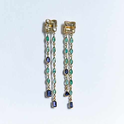 Faceted Citrine, Emerald and Iolite earrings