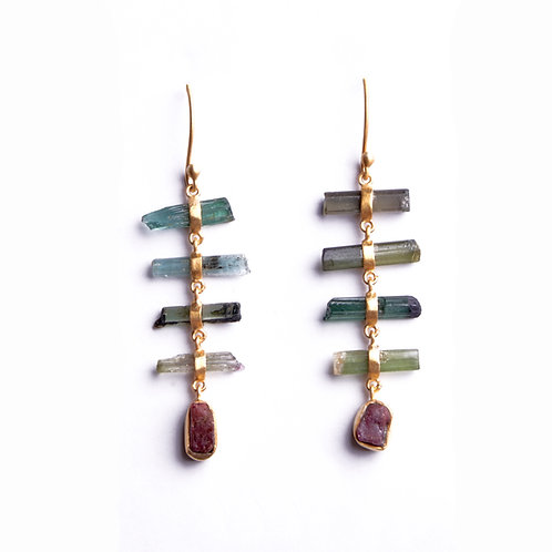 Raw Multi Tourmaline Earrings