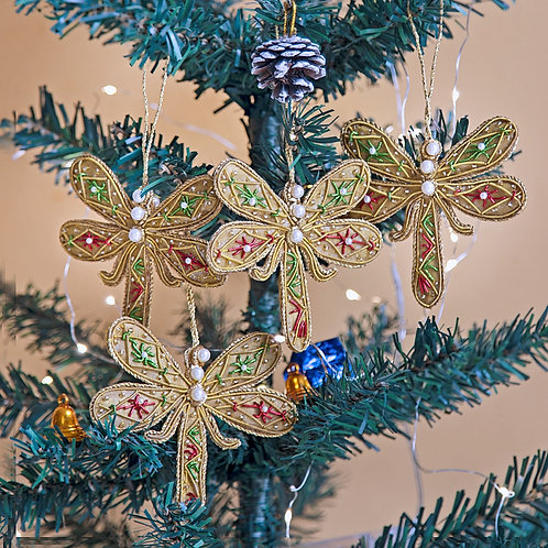 Set of 4 Hand Embroidered Dragon fly Ornaments