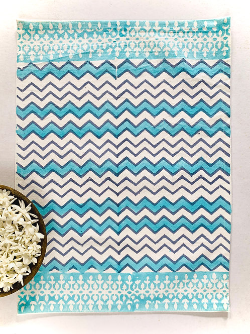 Vibrant Turquoise Hand Block Table Mat Set of 6