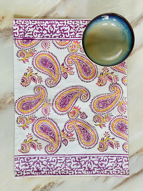 Pink and Yellow Paisley Tablemat set of 6