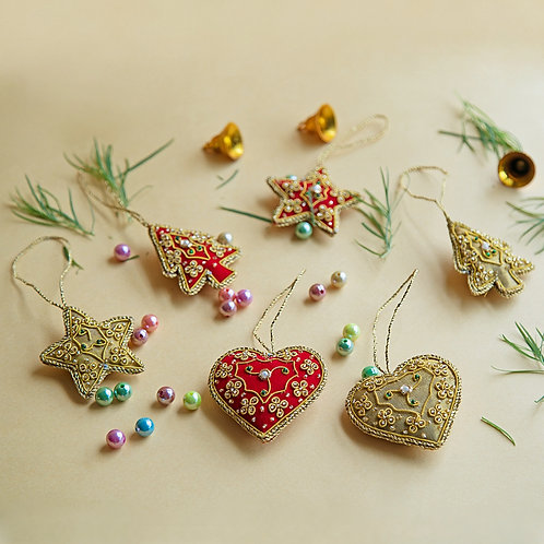 Set of 6 Hand Embroidered Christmas Ornaments