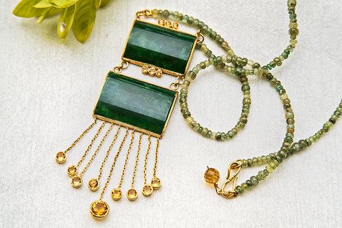 Emeralds,Jadeite and Citrine Necklace