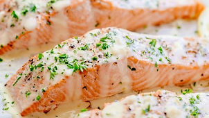 Baked Salmon with Lemon Cream Sauce