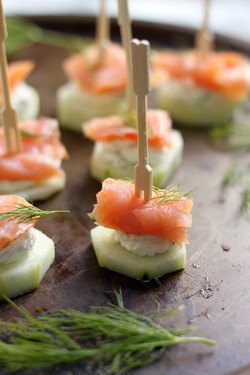 Salmon cucumber bite