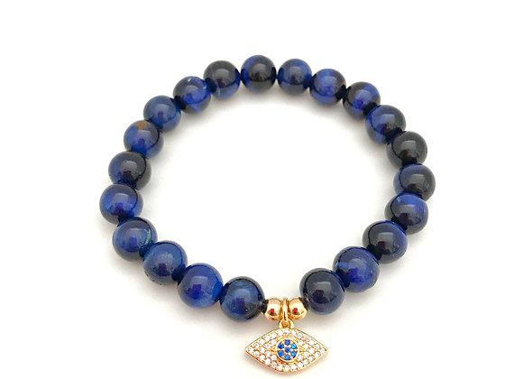 Blue Tiger's Eye Evil Eye Bracelet