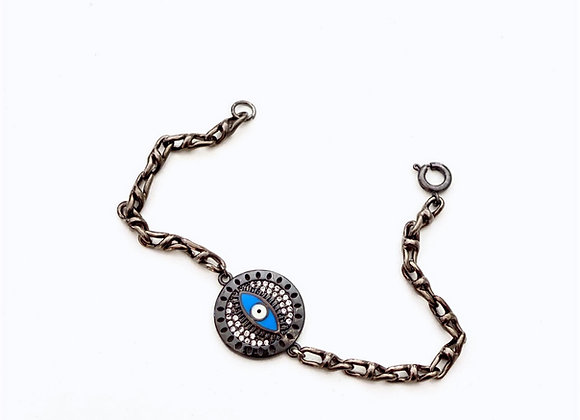 Gunmetal Evil Eye Chain Bracelet