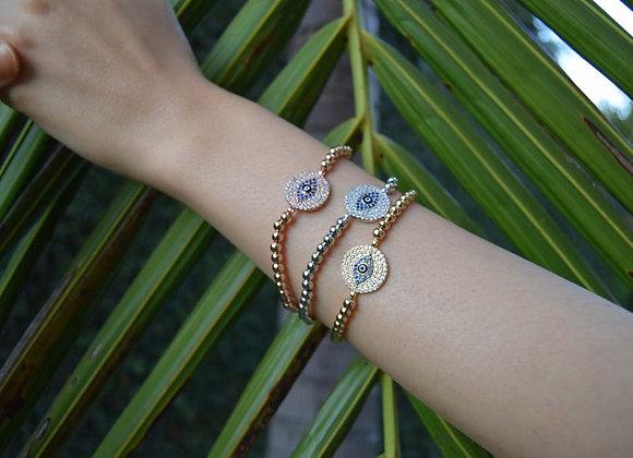 Round Evil Eye Bead Bracelet