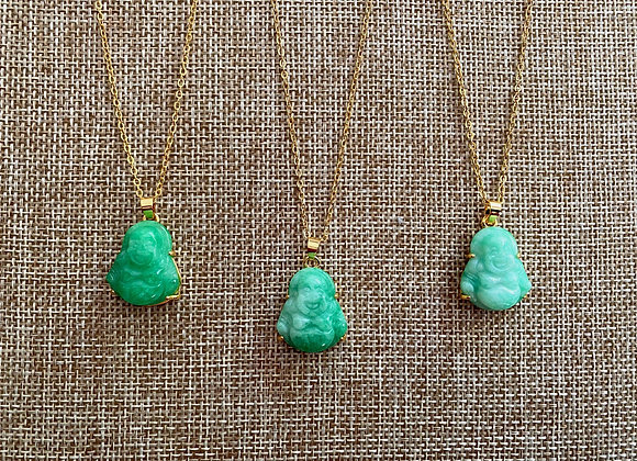 Jade Laughing Buddha Necklace