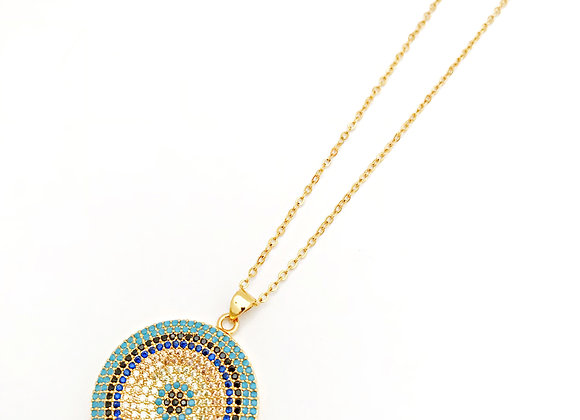 Pave Bullseye Necklace