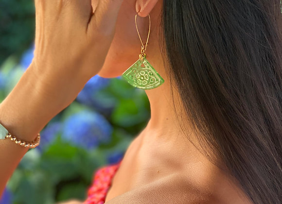 Jade Fan Earrings