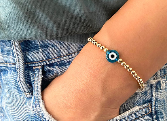 Gold Filled Glass Evil Eye Bracelet