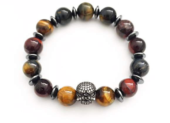 Mixed Tiger's Eye Skull Bracelet