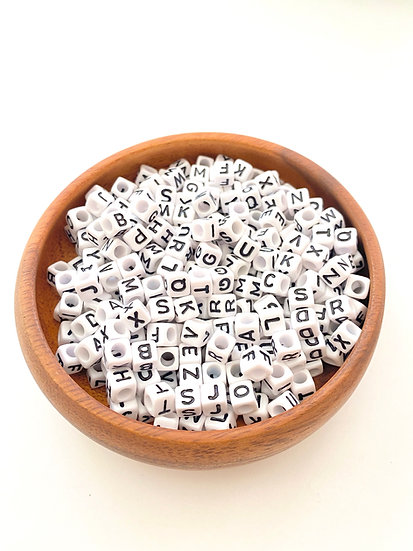 Acrylic Letters Square Beads - Black/White