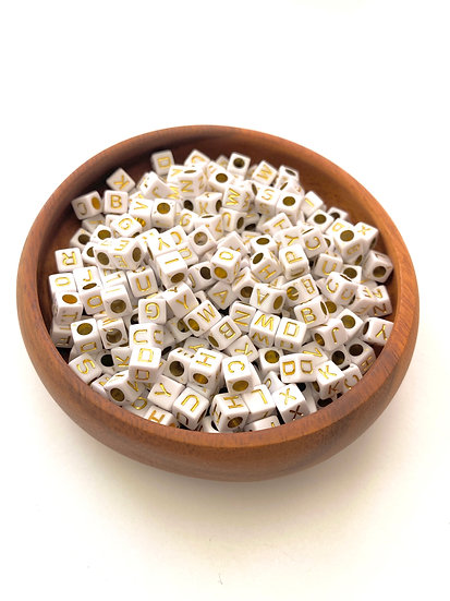 Acrylic Letter Square Beads - Gold