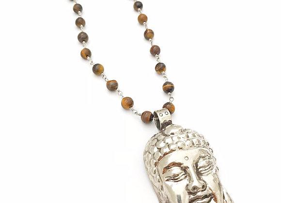 Tiger's Eye Tibetan Buddha Head Necklace