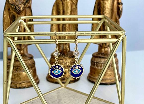 Indigo Quartz Evil Eye Earrings