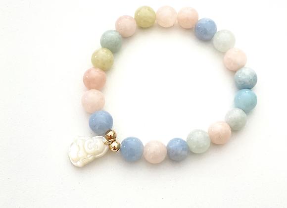 Morganite Buddha Bracelet