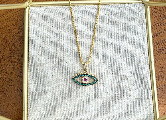 Pave Green Evil Eye Necklace