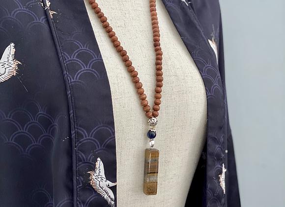 Tiger's Eye Wood Pendulum Necklace