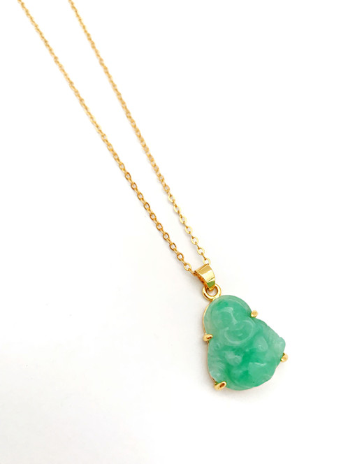 Jade laughing buddha necklace jewelry los angeles bijou jade laughing buddha necklace mozeypictures Images
