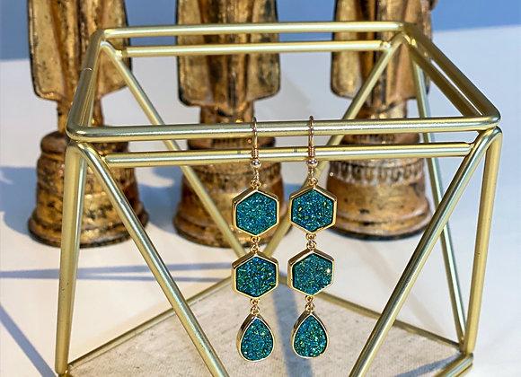 Druzy Hexagon Earrings
