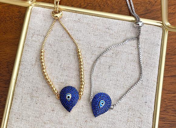 Indigo Blue Evil Eye Adjustable Bracelet