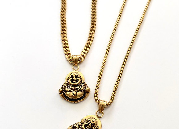 Stainless Steel Laughing Buddha Necklace - Gold