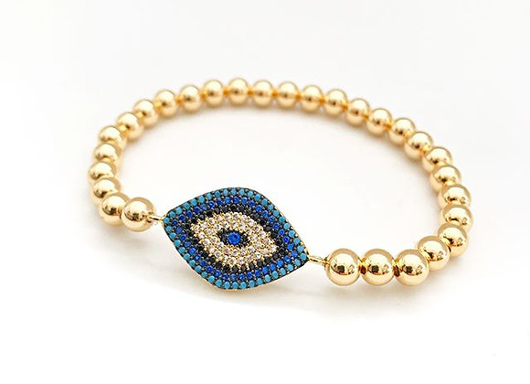 Gold Bead Bracelet - Large Evil Eye 5mm