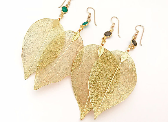 Leaves Gold Earrings with Gemstones
