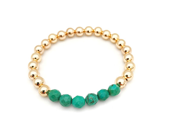 Gold-Filled 6mm - Green Turquoise
